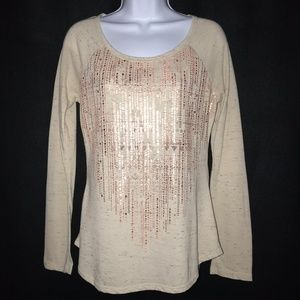 Maurices Tan Gold Long Sleeve Knit Blouse Small